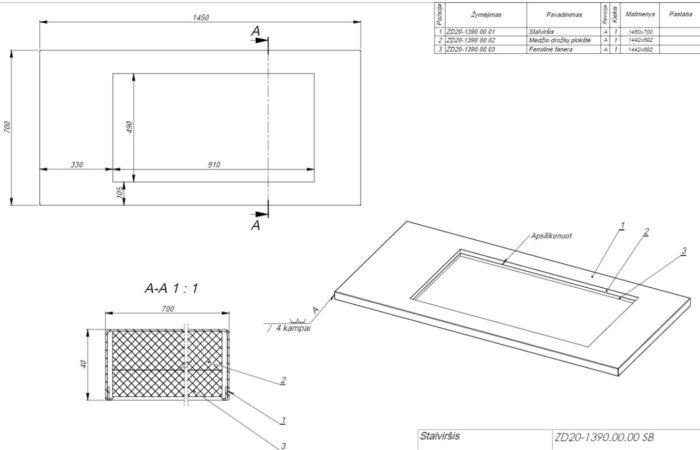 Flat bottom table top